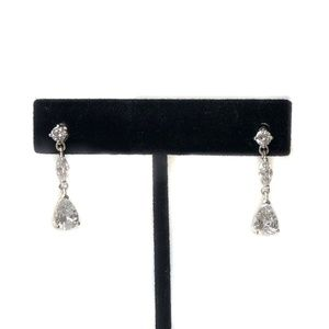 Silver tone metal Cubic zirconia drop earrings